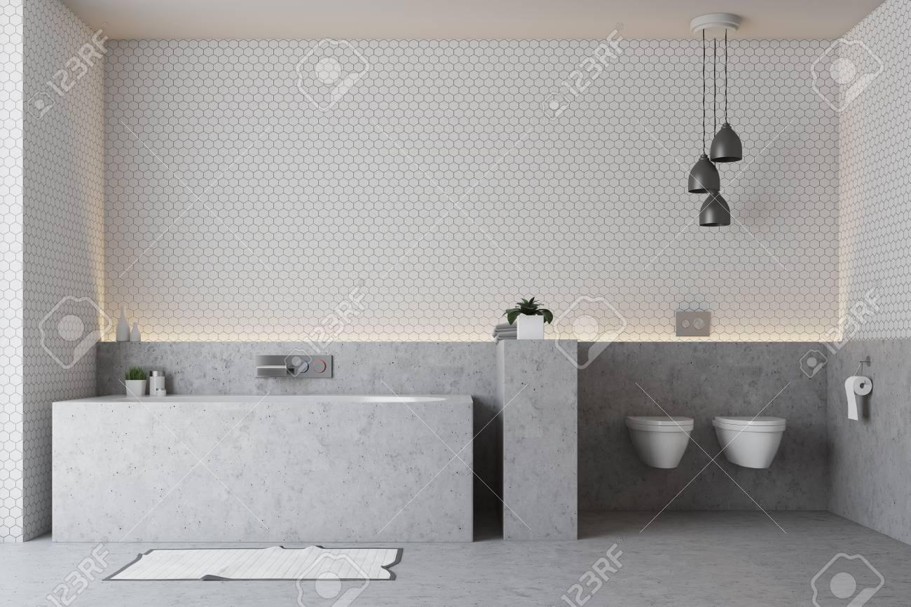interieur de salle de bain blanc avec sol gris baignoire grise et double toilette rendu 3d maquette