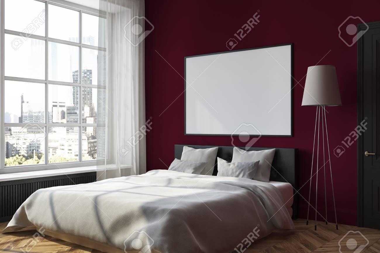 dark red bedroom corner