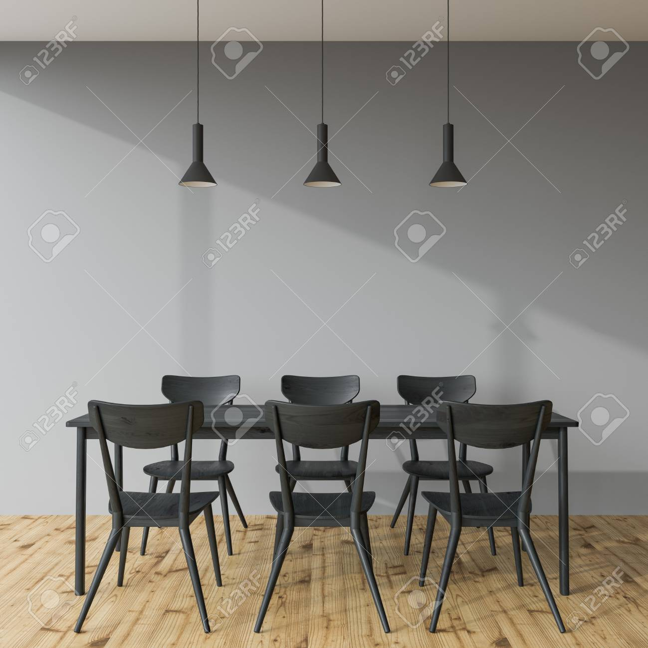 Black Dining Room Table And Chairs Long Black Dining Room Table With Black Chairs Standing In An