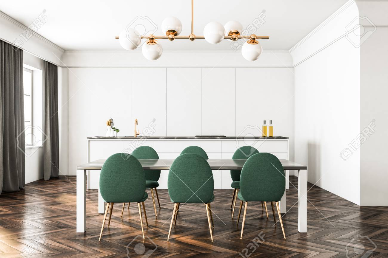 White Dining Room And Kitchen Interior With A Dark Wooden Floor Stock Photo Picture And Royalty Free Image Image 100556338