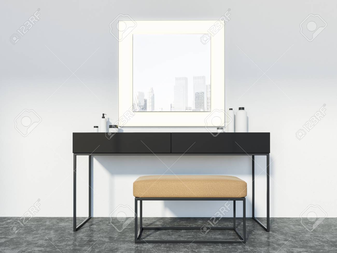 Makeup Table Chair Makeup Table With A Narrow Soft Chair And A Large Square Mirror