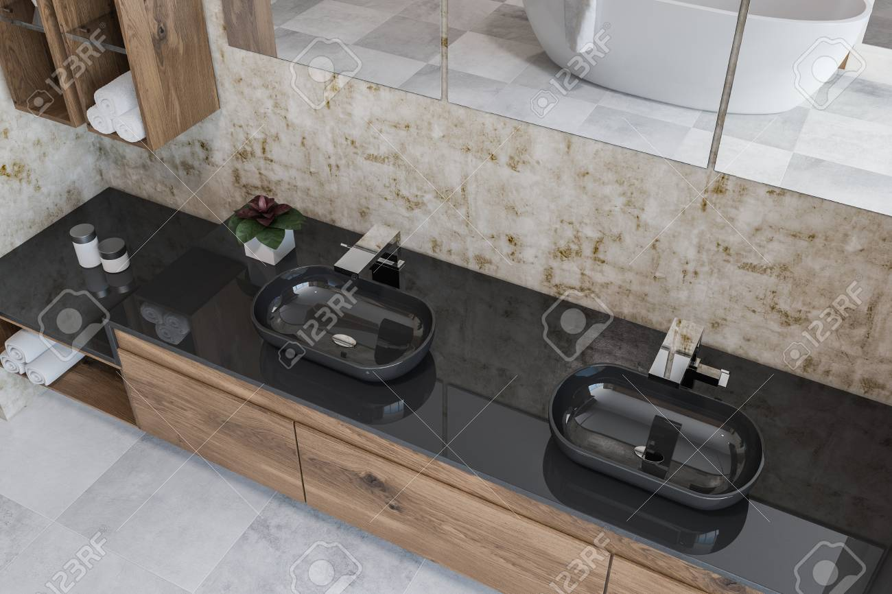 top view of luxury bathroom with wooden walls black double sink