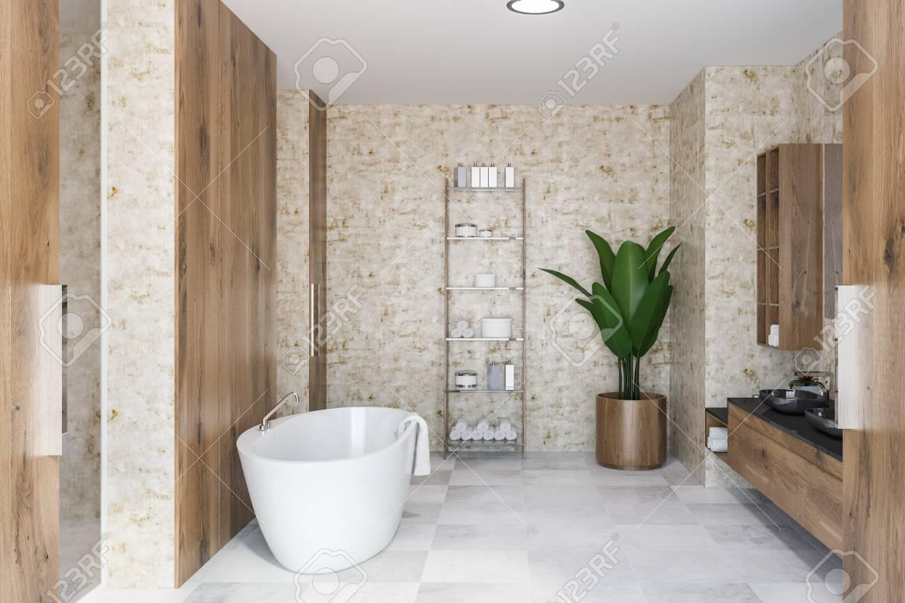 interior of luxury bathroom with wooden walls white tile floor