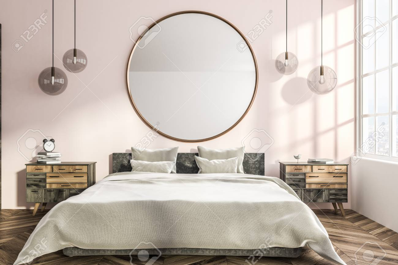 Interior Of Stylish Bedroom With Pink And White Walls Wooden Stock Photo Picture And Royalty Free Image Image 113584618