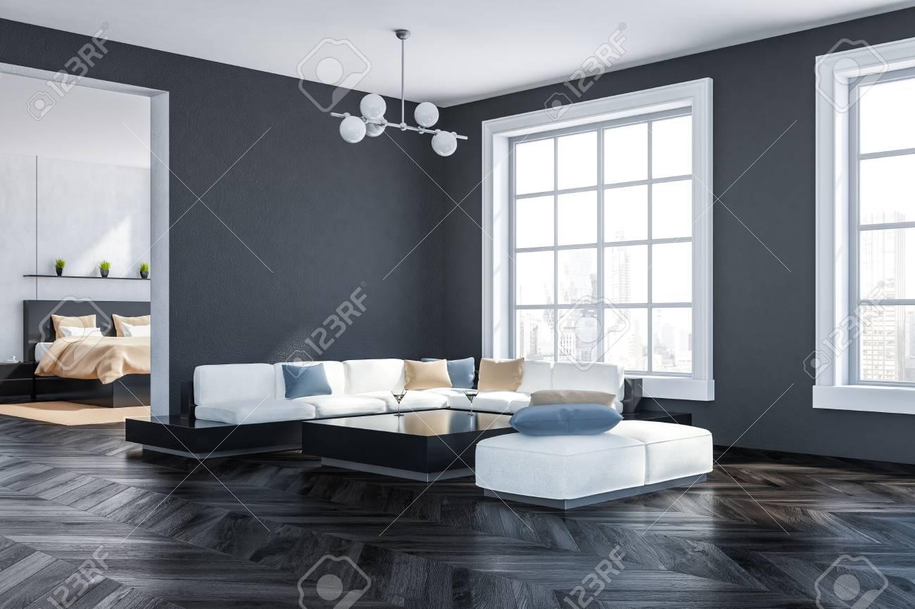dark oak floor living room vase decoration corner of with gray walls wooden big windows white