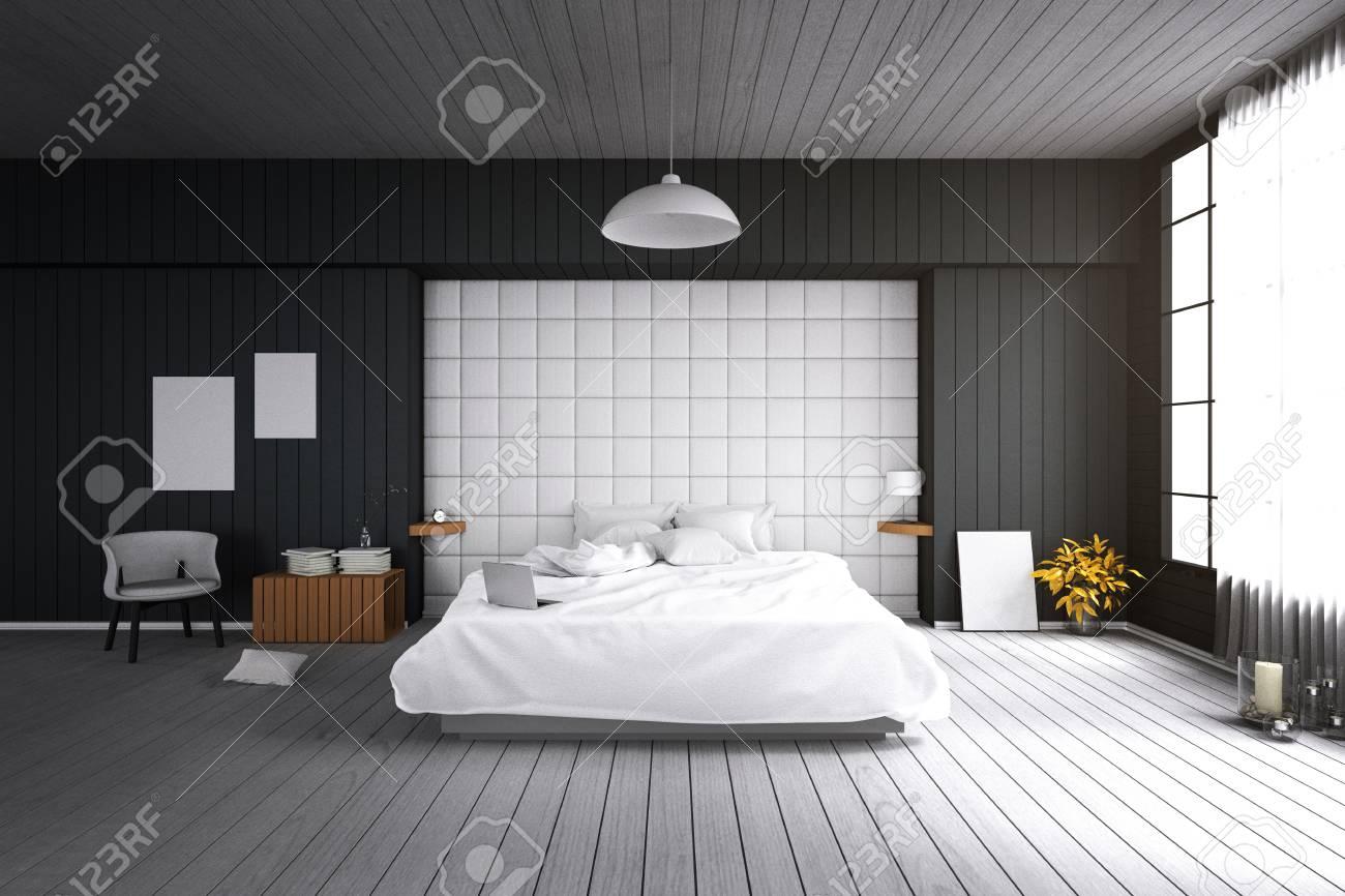 rendu 3d illustration de la grande chambre moderne spacieuse dans la lumiere douce color big confortable lit double dans la chambre a coucher moderne