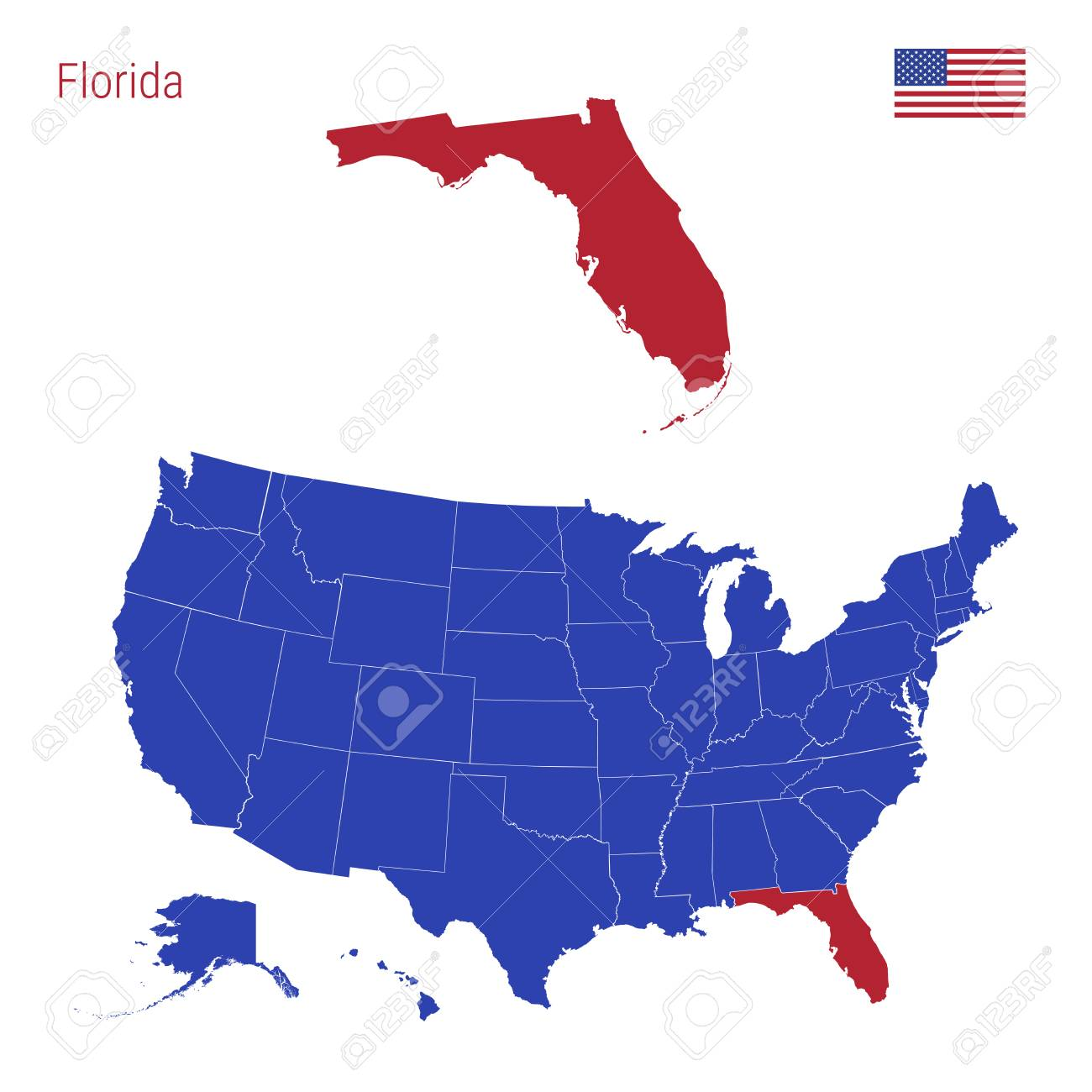 Get daily travel tips & deals! The State Of Florida Is Highlighted In Red Blue Vector Map Of The United States Divided Into Separate States Map Of The Usa Split Into Individual States Royalty Free Cliparts Vectors And