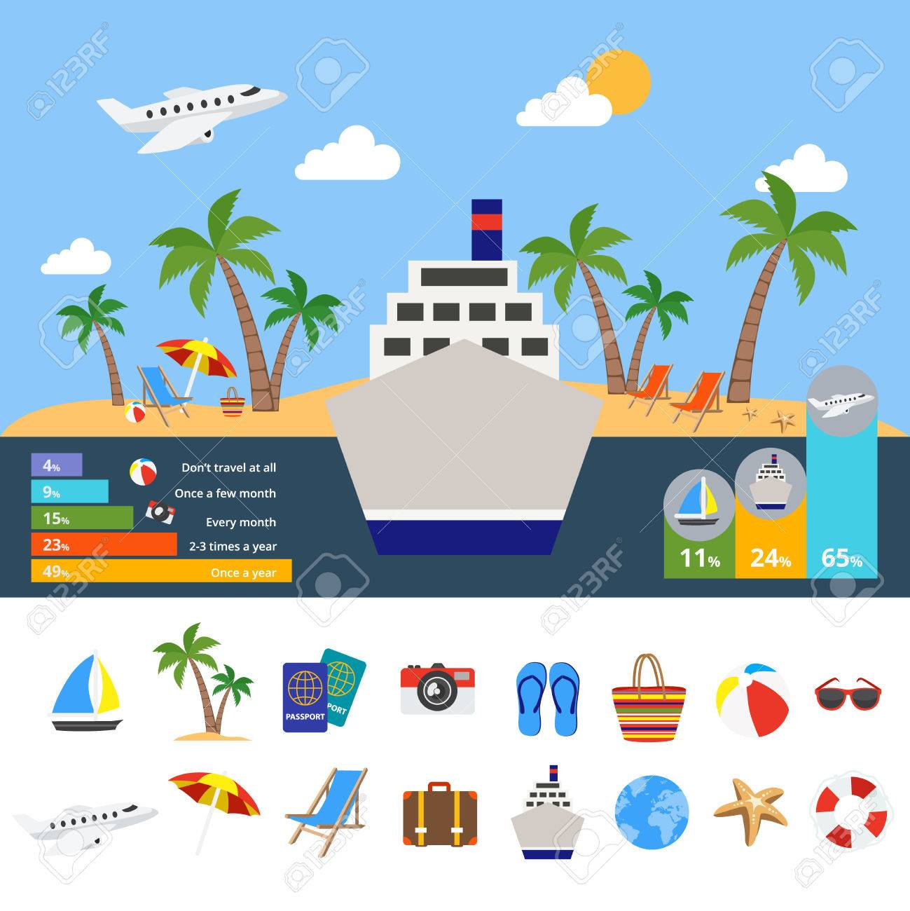 cruise ship diagram how to set a formal table for dinner world of tourism infographics with in center symbol vector global travel statistics diagrams illustration
