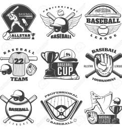 baseball black white emblems of teams and tournaments with sports equipment cup player isolated vector illustration [ 1299 x 1300 Pixel ]