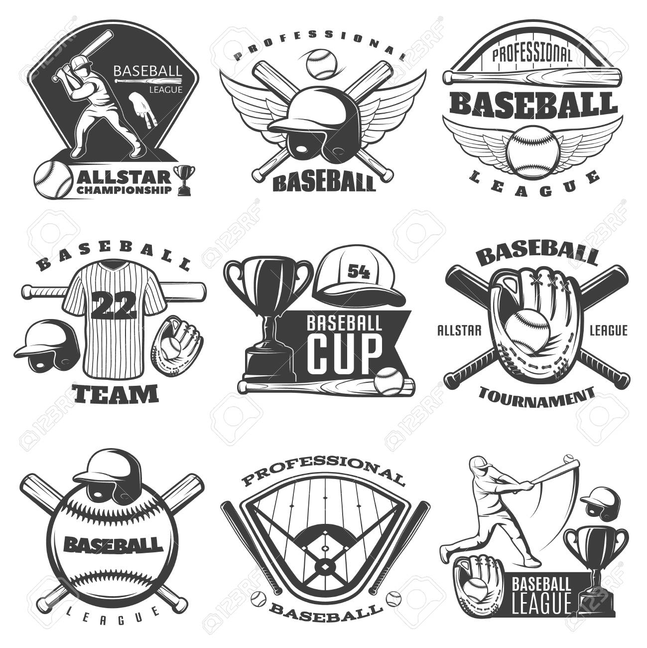 hight resolution of baseball black white emblems of teams and tournaments with sports equipment cup player isolated vector illustration