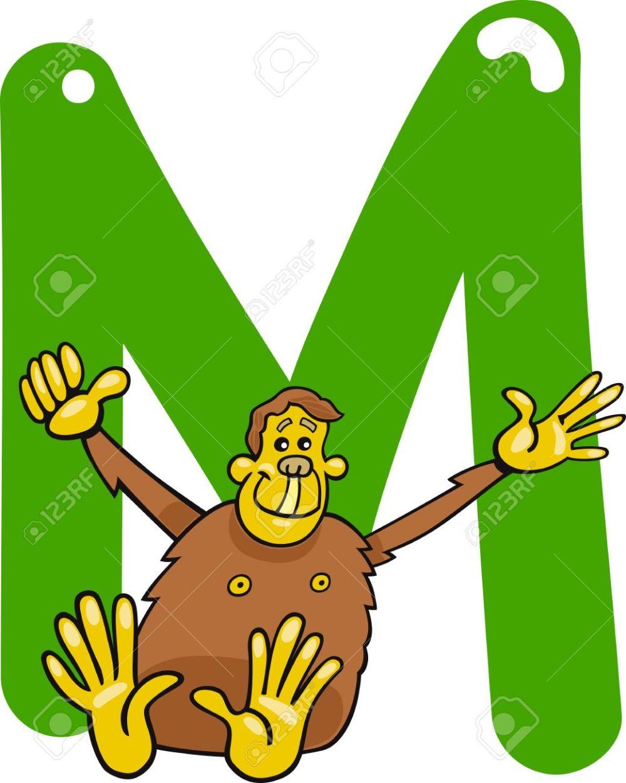 medium resolution of cartoon illustration of m letter for monkey stock vector 13070813