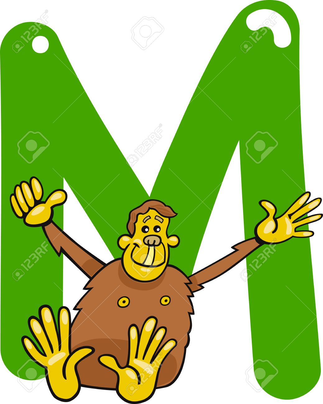 hight resolution of cartoon illustration of m letter for monkey stock vector 13070813