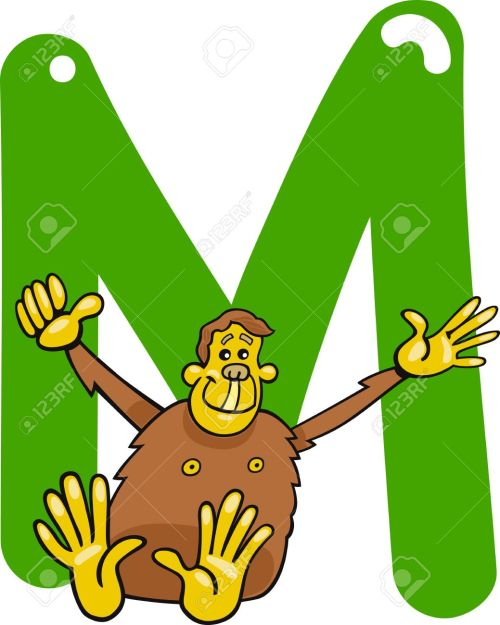small resolution of cartoon illustration of m letter for monkey stock vector 13070813