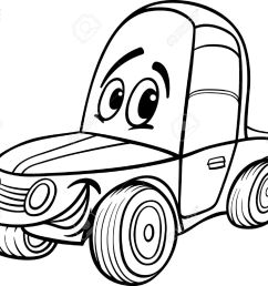 black and white cartoon illustration of funny racing car vehicle comic mascot character for coloring book [ 1300 x 1064 Pixel ]