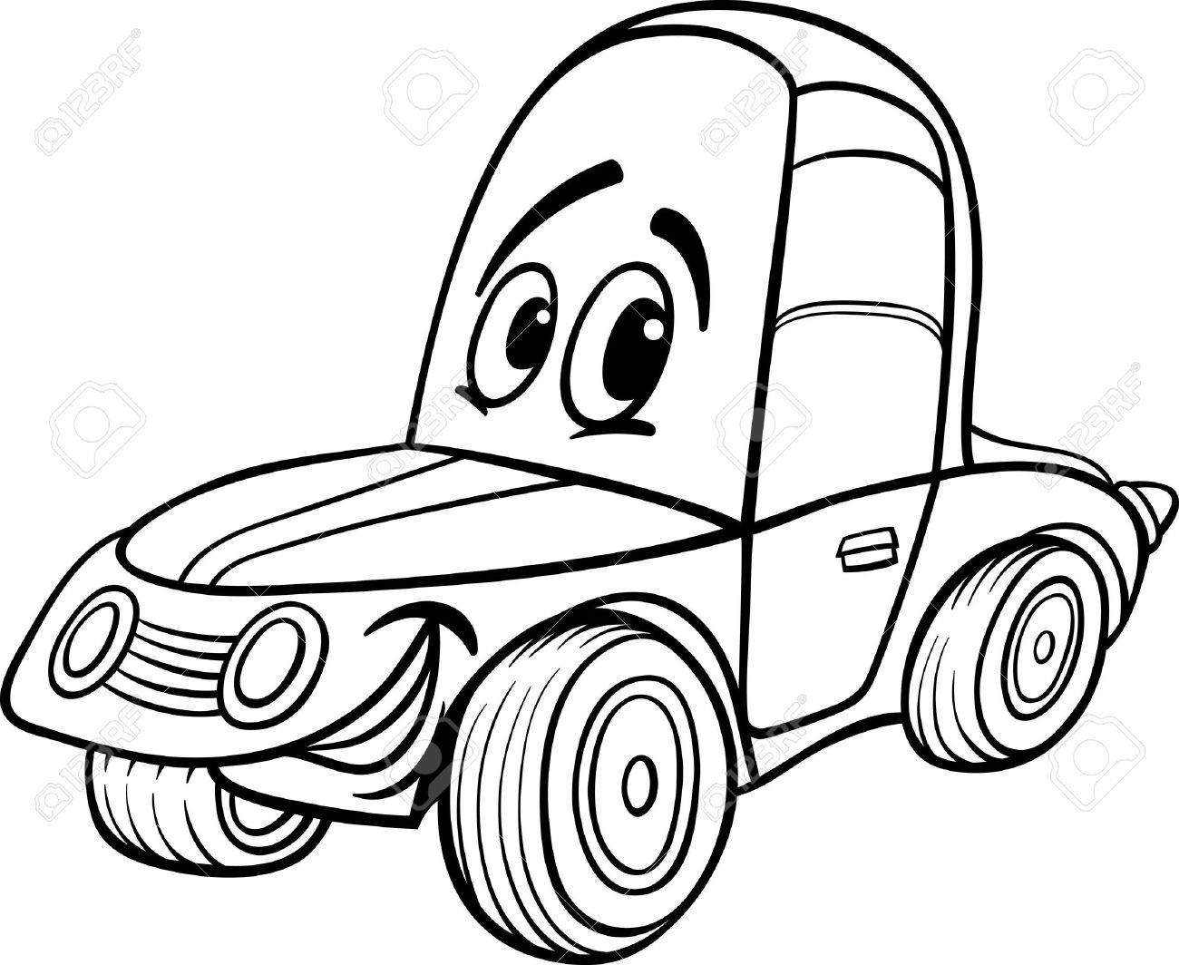 hight resolution of black and white cartoon illustration of funny racing car vehicle comic mascot character for coloring book