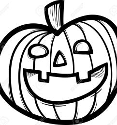 black and white cartoon illustration of spooky halloween pumpkin clip art for coloring book stock vector [ 1300 x 1239 Pixel ]