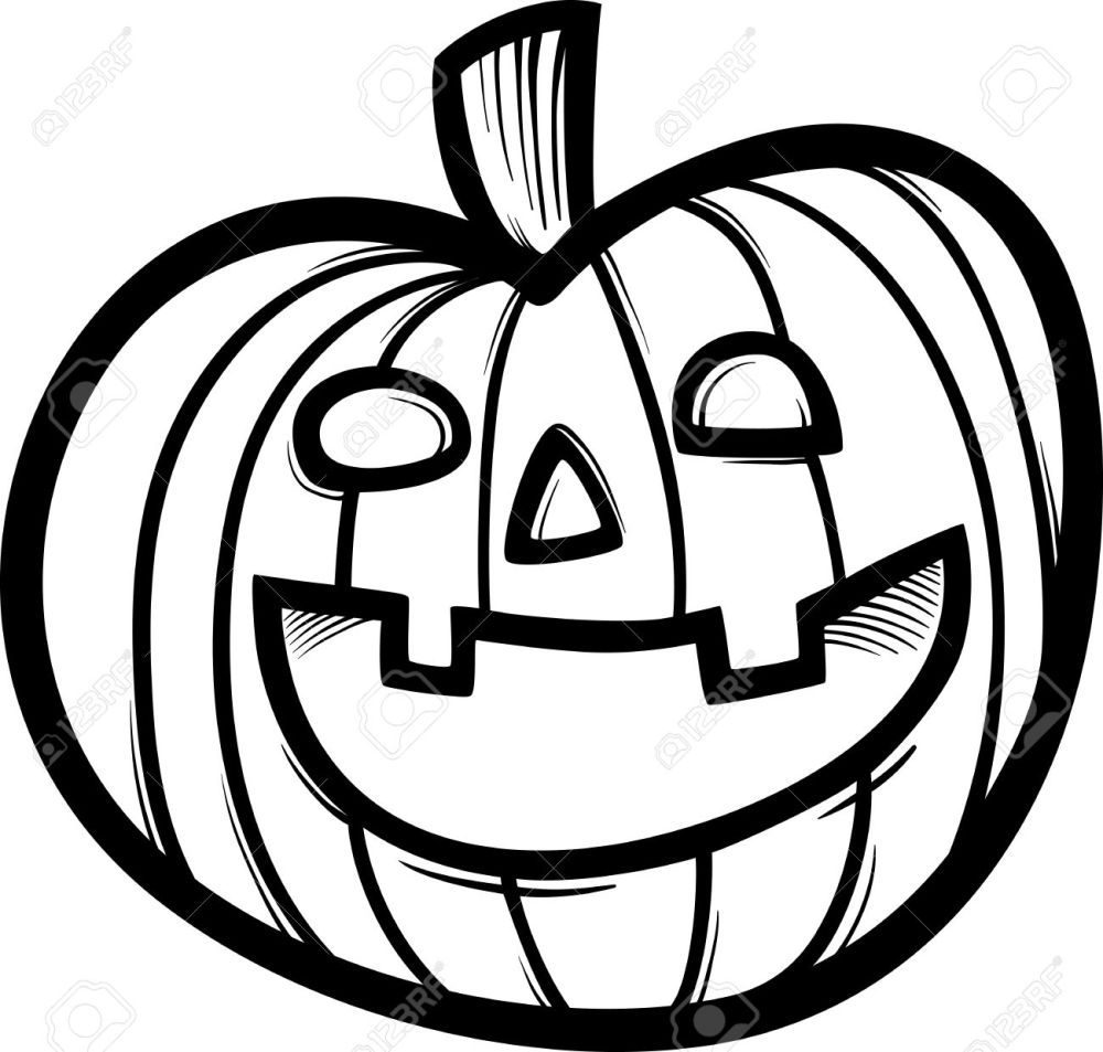 medium resolution of black and white cartoon illustration of spooky halloween pumpkin clip art for coloring book stock vector