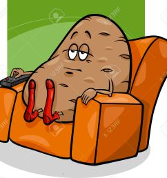 cartoon humor concept illustration of couch potato saying or proverb [ 1300 x 1166 Pixel ]