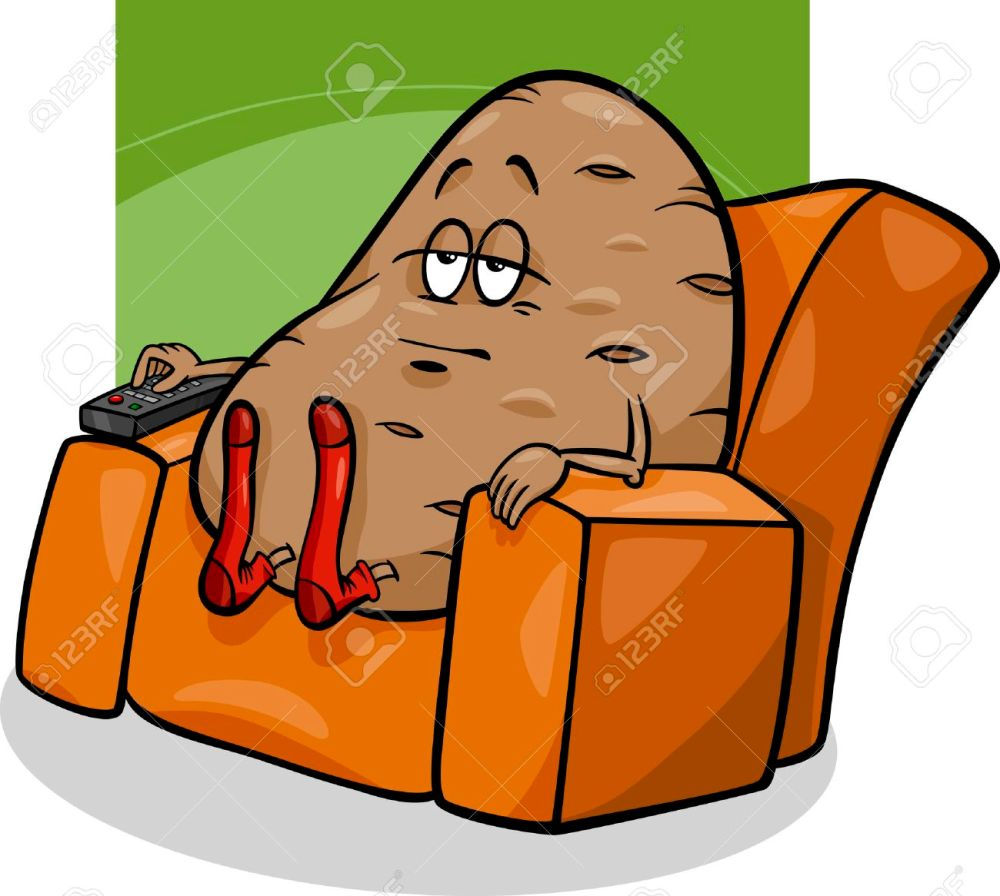 medium resolution of cartoon humor concept illustration of couch potato saying or proverb