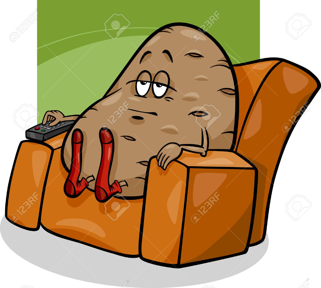 hight resolution of cartoon humor concept illustration of couch potato saying or proverb