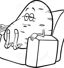 black and white cartoon humor concept illustration of couch potato saying or proverb for coloring book [ 1300 x 1012 Pixel ]