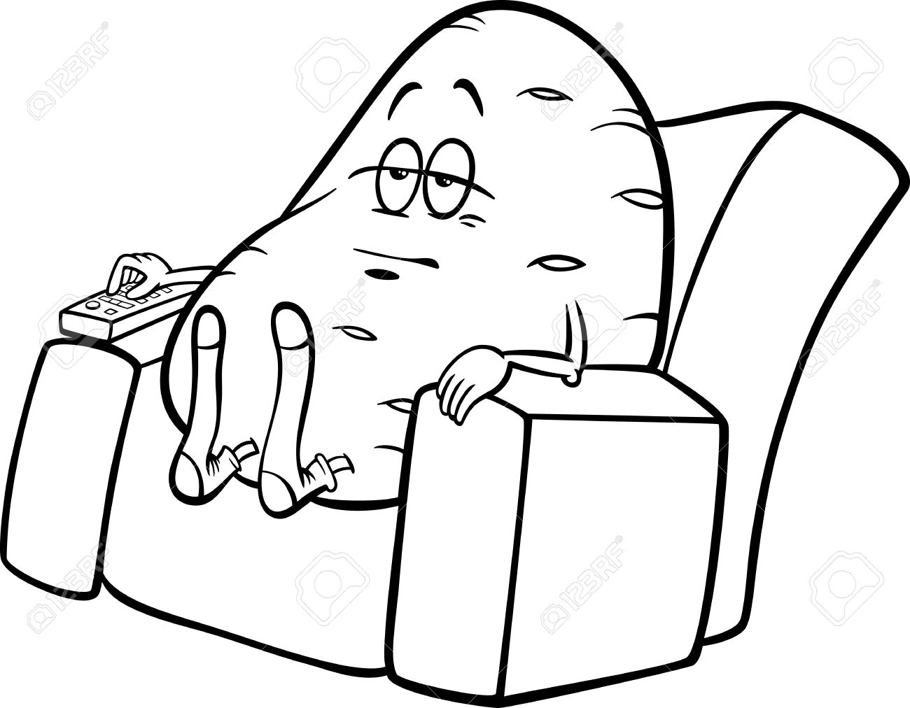 hight resolution of black and white cartoon humor concept illustration of couch potato saying or proverb for coloring book