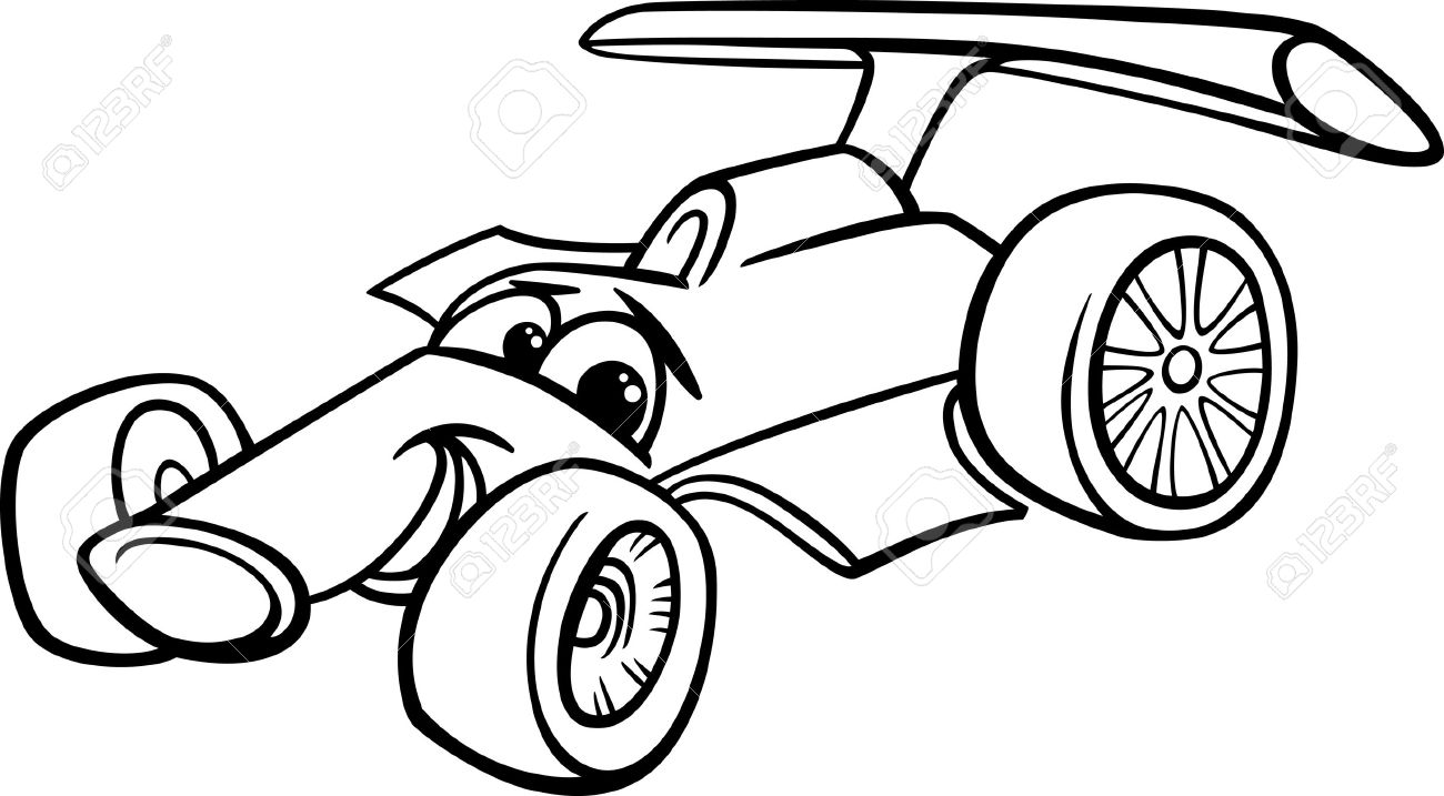 hight resolution of black and white cartoon funny racing car stock vector 25891273