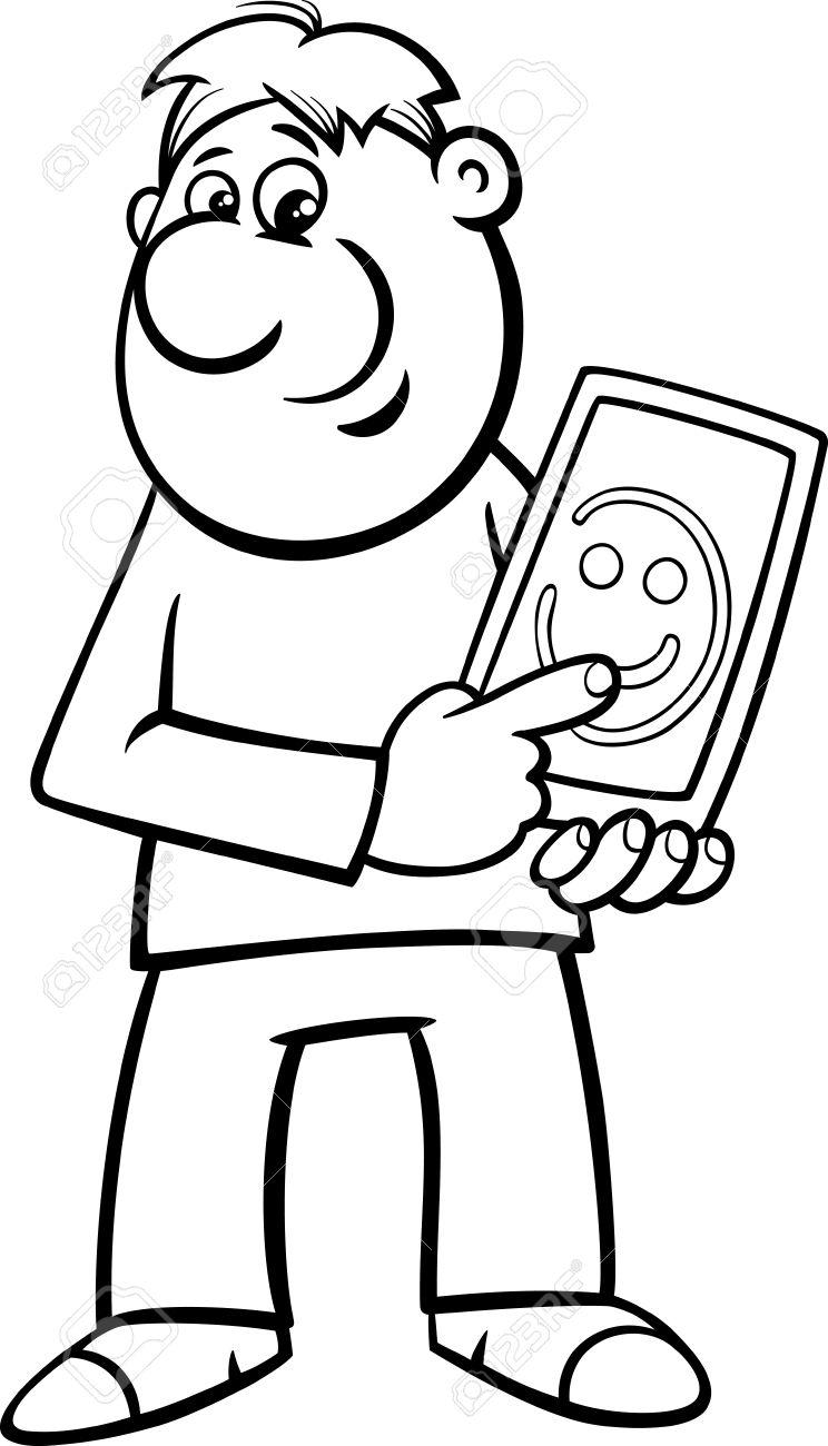 塗り絵のためのタブレット pc に図面笑みを浮かべて男の黒と白の漫画