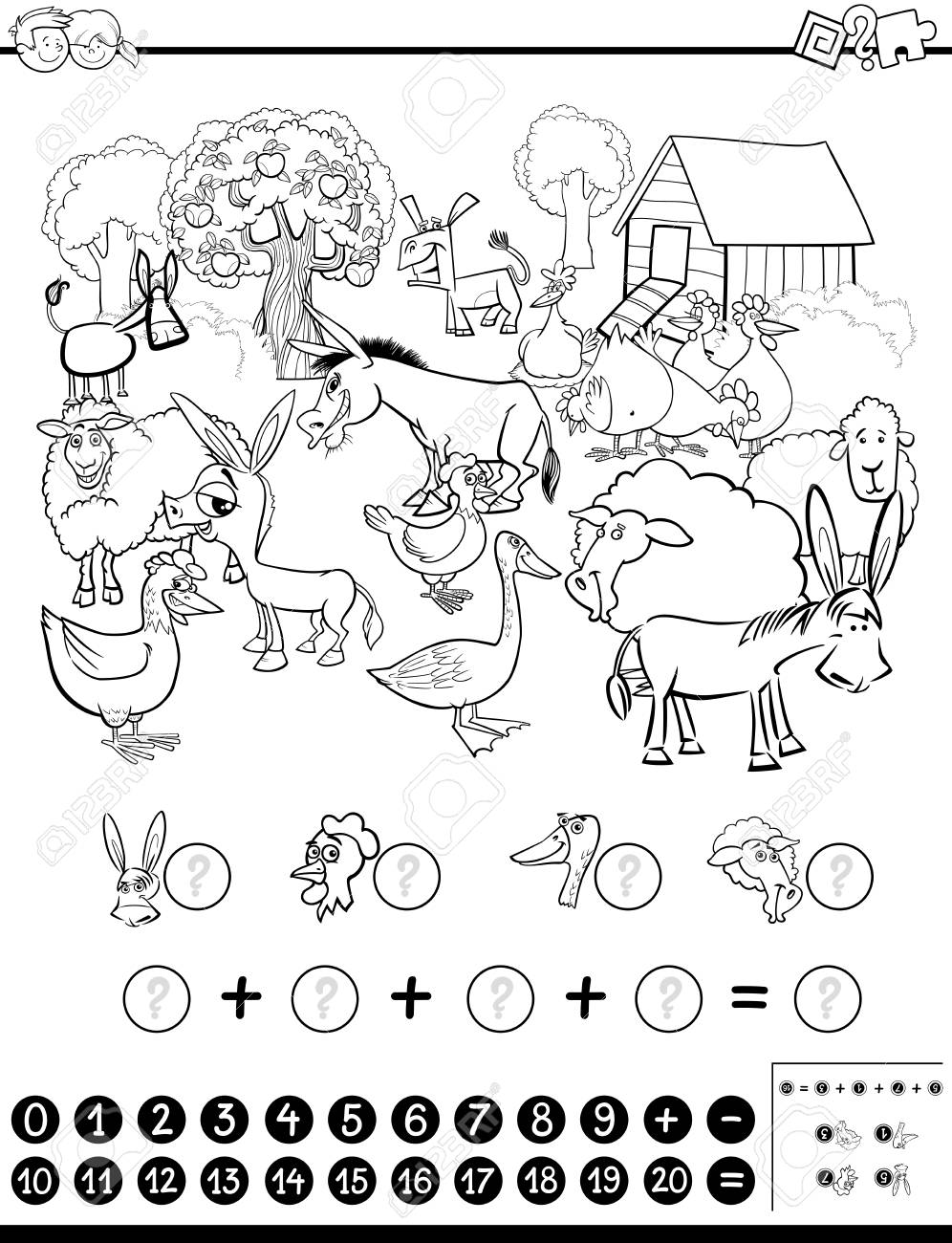 Farm Clipart Black And White : clipart, black, white, Black, White, Cartoon, Illustration, Educational, Mathematical.., Royalty, Cliparts,, Vectors,, Stock, Illustration., Image, 78840030.