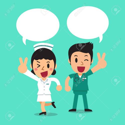 small resolution of cartoon male nurse and female nurse with speech bubbles stock vector 79987356