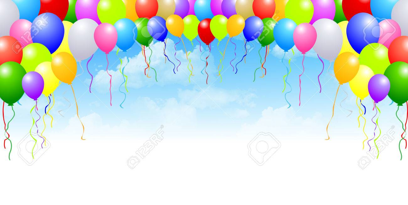 sky balloons background