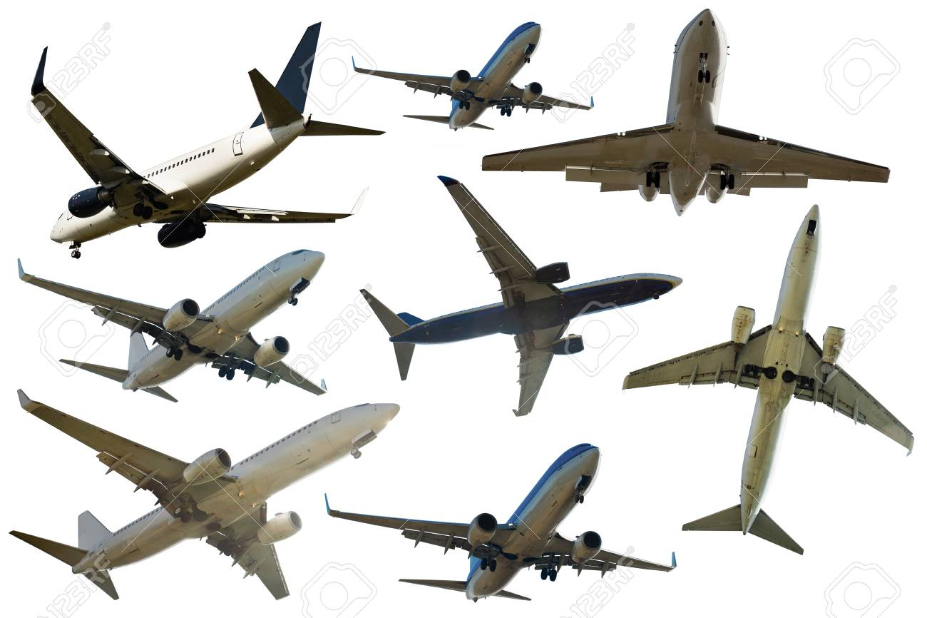 airplanes flying collection isolated