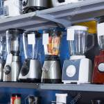 Shelves With Blenders Juicers And Other Kitchen Domestic Appliances