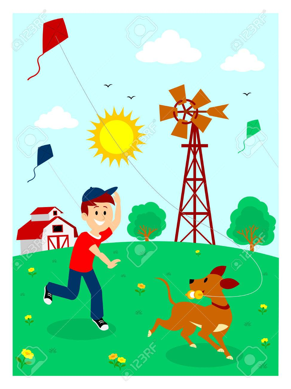 medium resolution of boy playing kite with his dog clipart stock vector 57577100