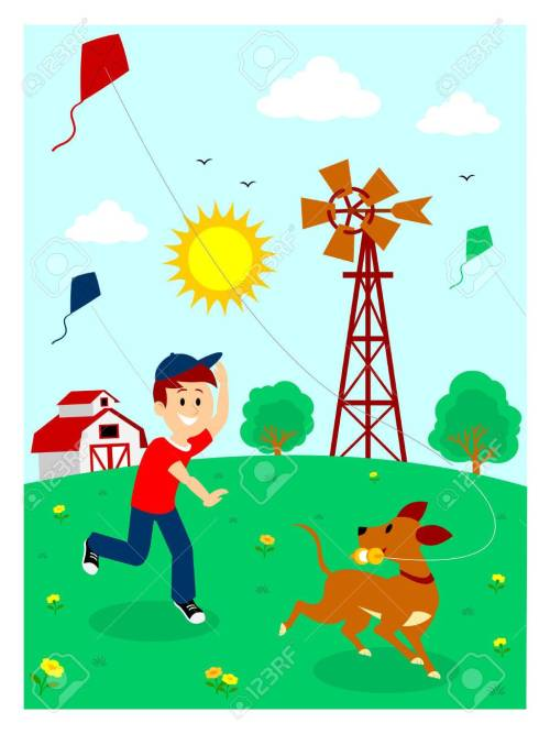 small resolution of boy playing kite with his dog clipart stock vector 57577100