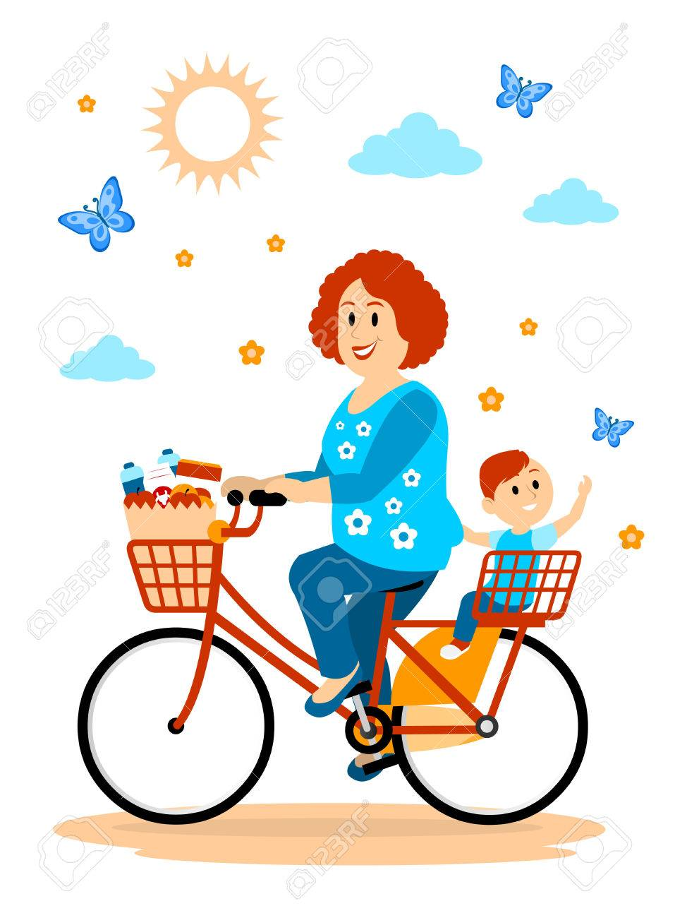 hight resolution of hitching a ride to the store with mom clipart stock vector 57577115