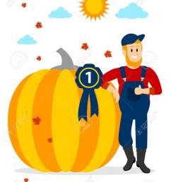 farmer winning pumpkin contest at the first place clipart stock vector 57577116 [ 974 x 1300 Pixel ]