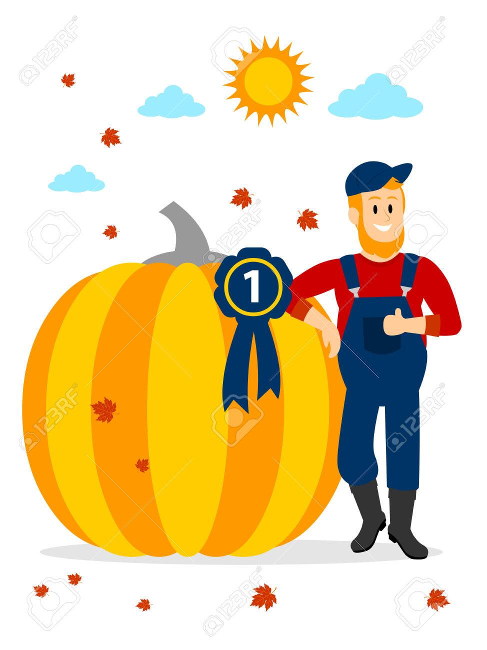 hight resolution of farmer winning pumpkin contest at the first place clipart stock vector 57577116