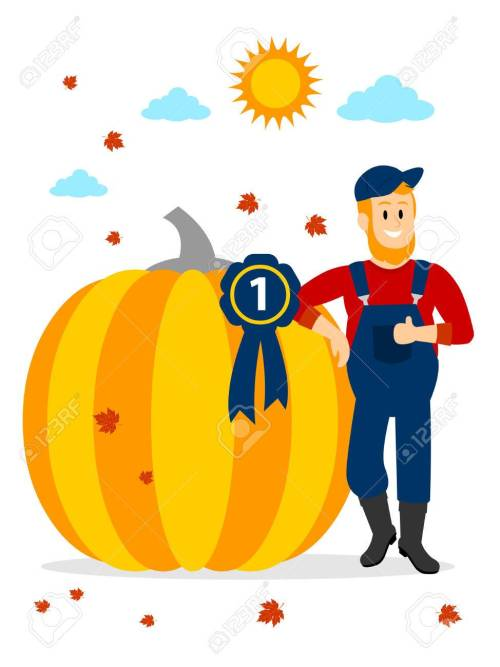 small resolution of farmer winning pumpkin contest at the first place clipart stock vector 57577116