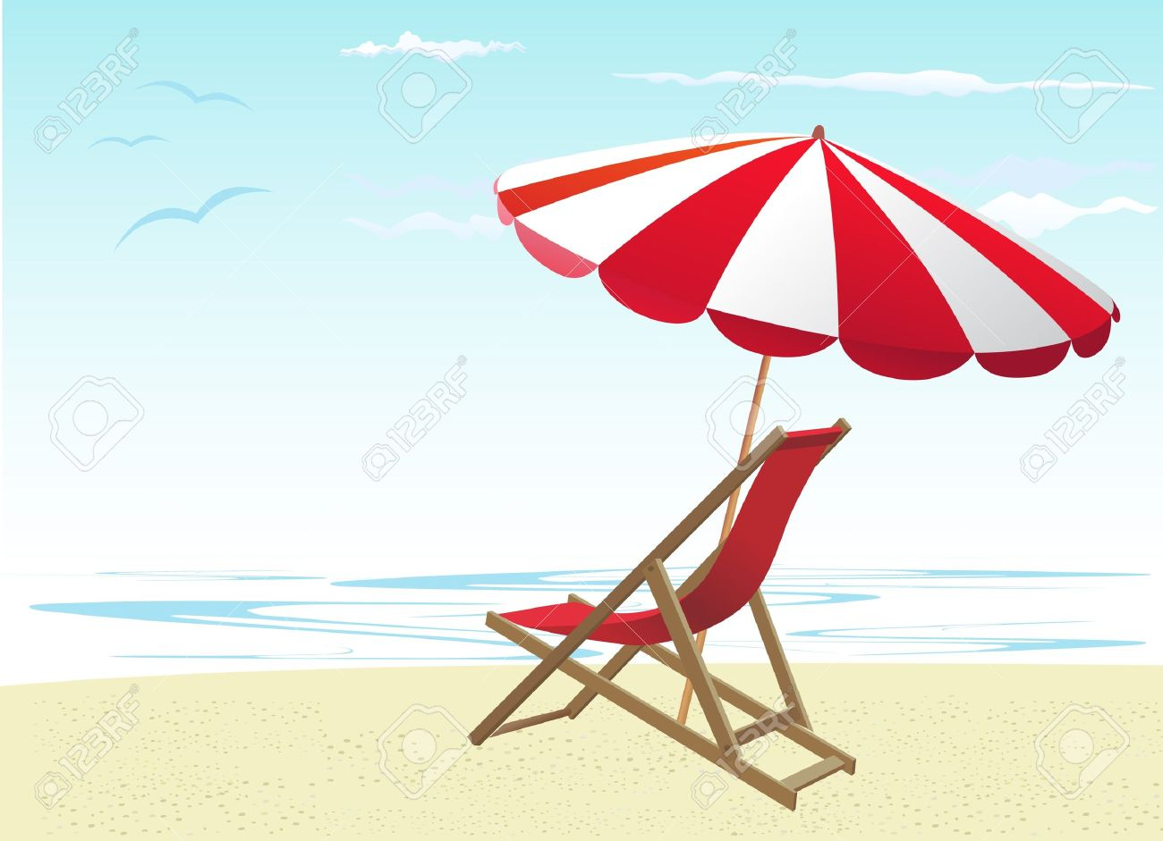 hight resolution of beach chairs and umbrella stock vector 10182917