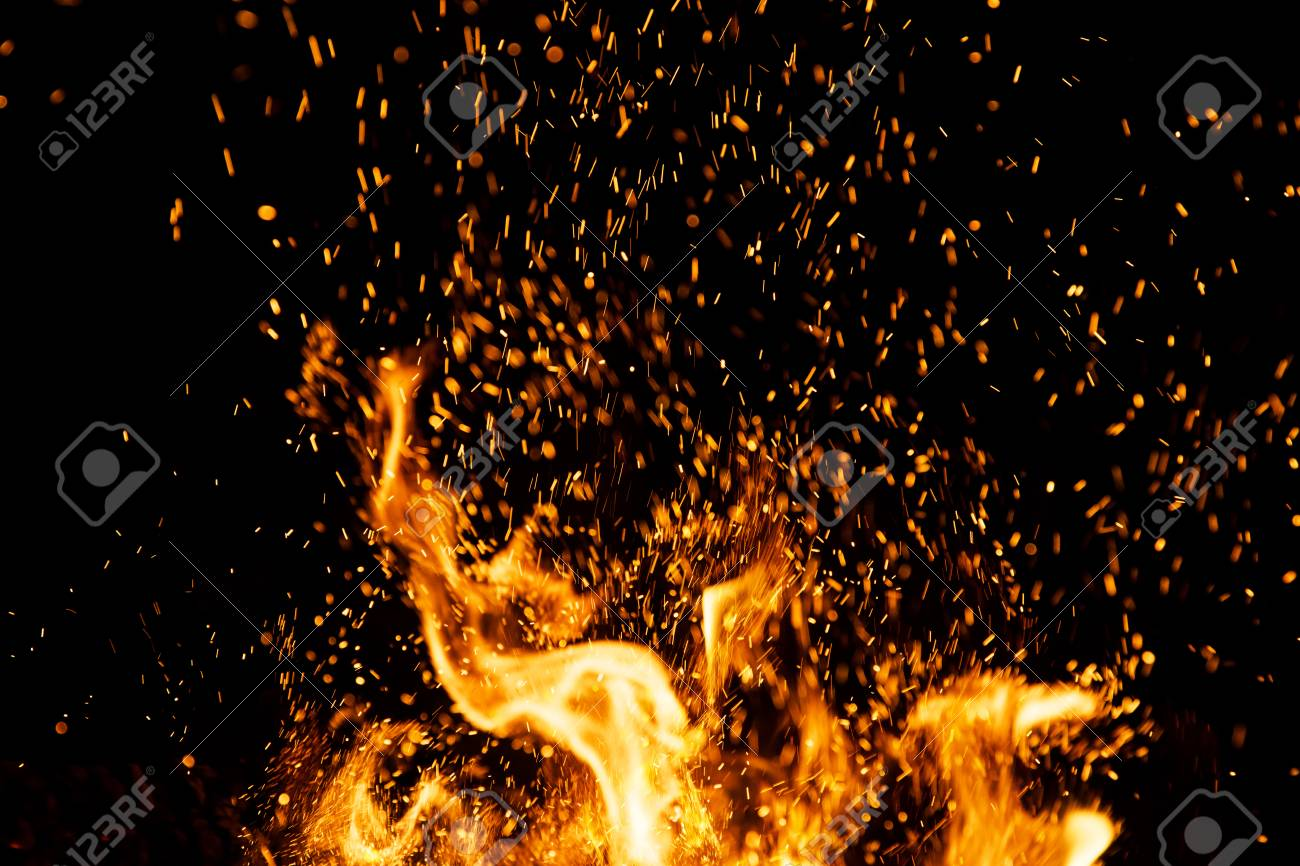 fire sparks particles with