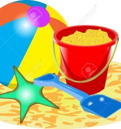 beach ball bucket and spade stock vector 37679044 [ 1300 x 865 Pixel ]