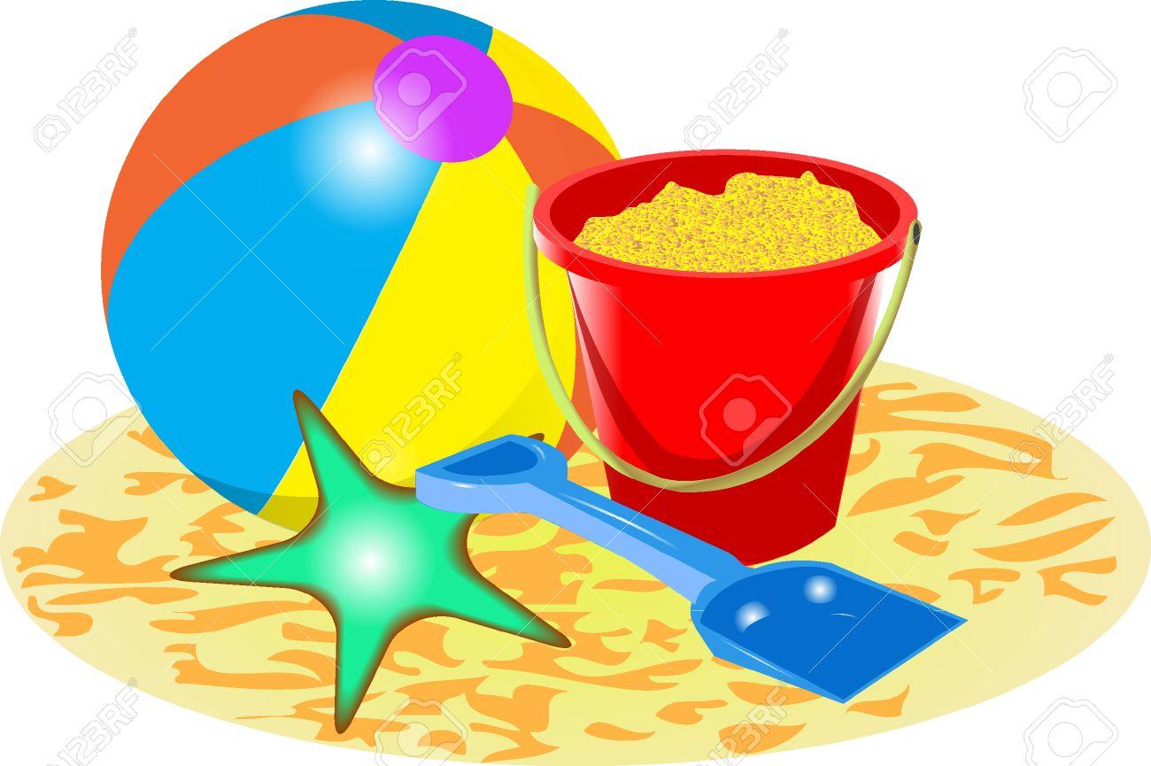 hight resolution of beach ball bucket and spade stock vector 37679044