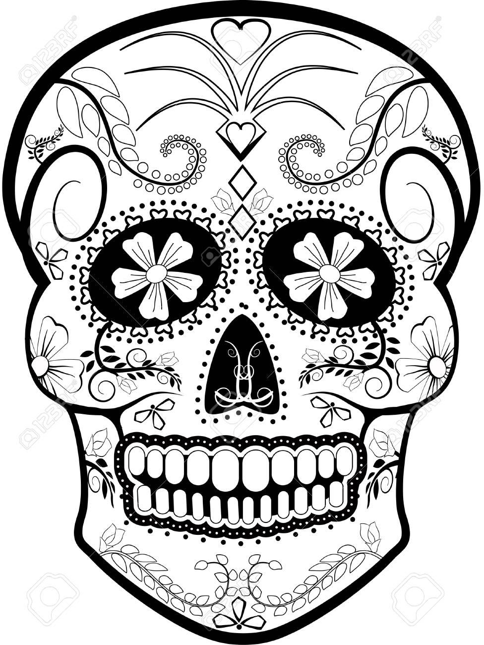 medium resolution of day of the dead skull vector stock vector 53413906