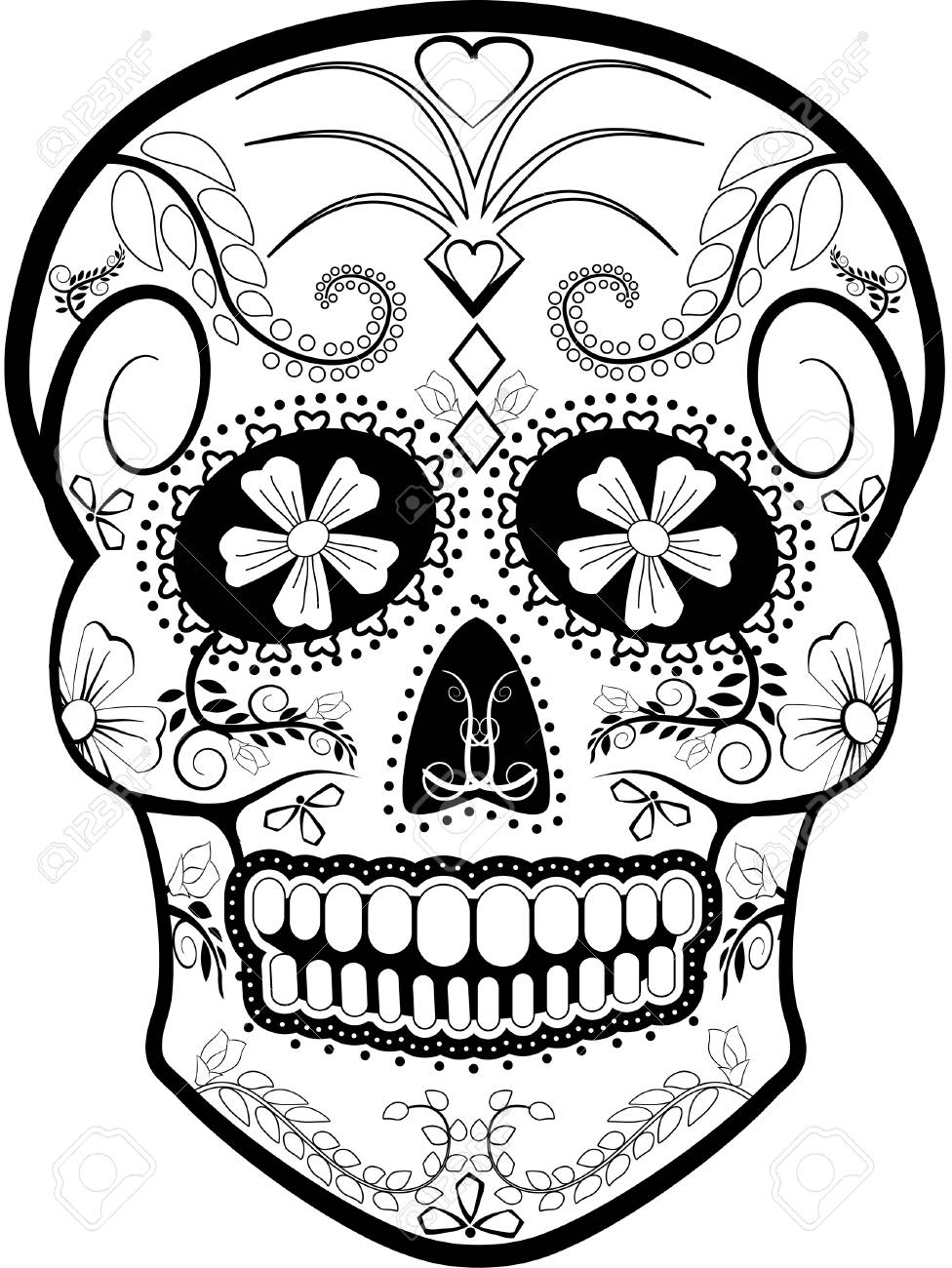 hight resolution of day of the dead skull vector stock vector 53413906