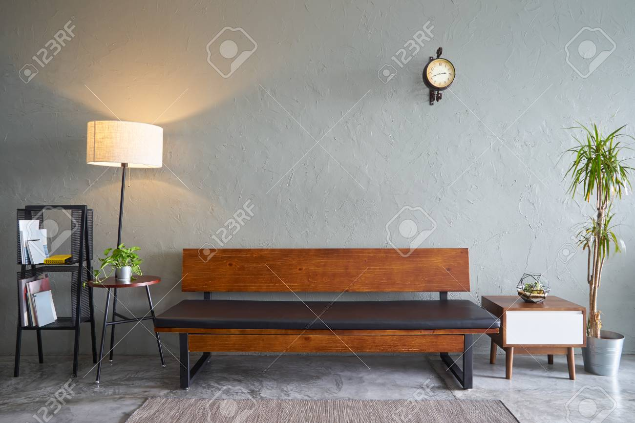 benches for living rooms room color schemes with gray furniture modern wooden bench sofa green plant tea table and clock