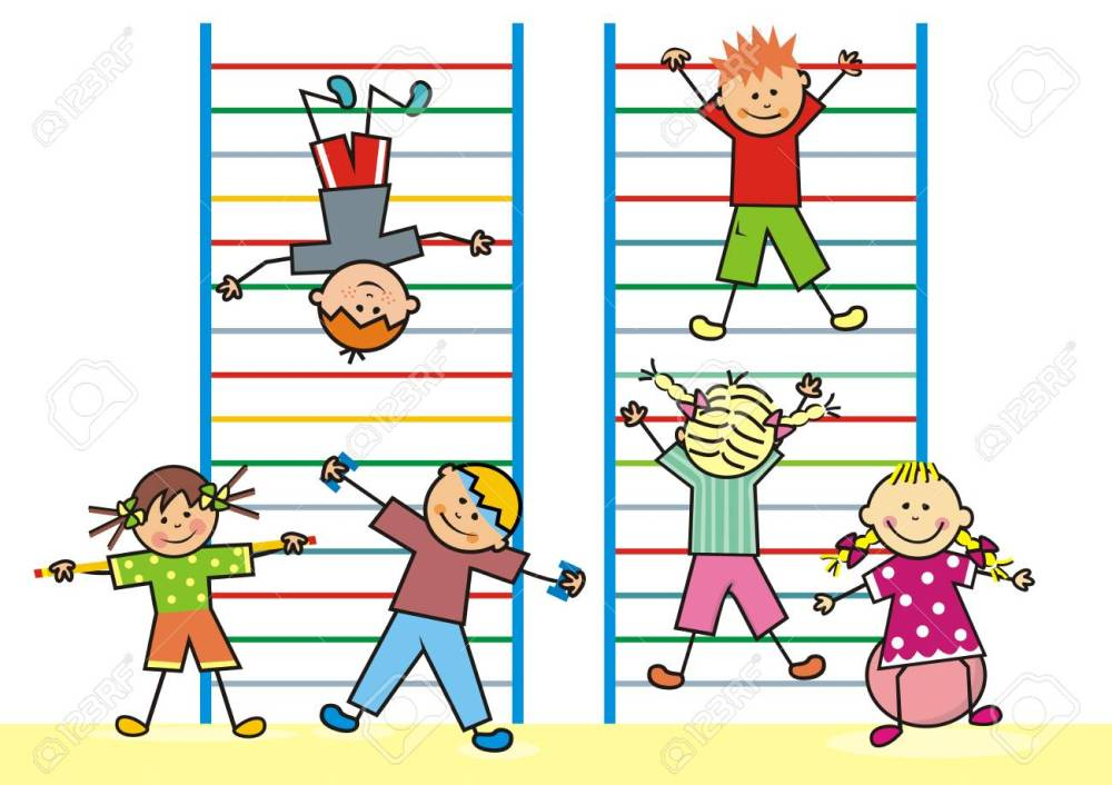 medium resolution of kids in the gym on the ladders vector icon fitness funny vector illustration