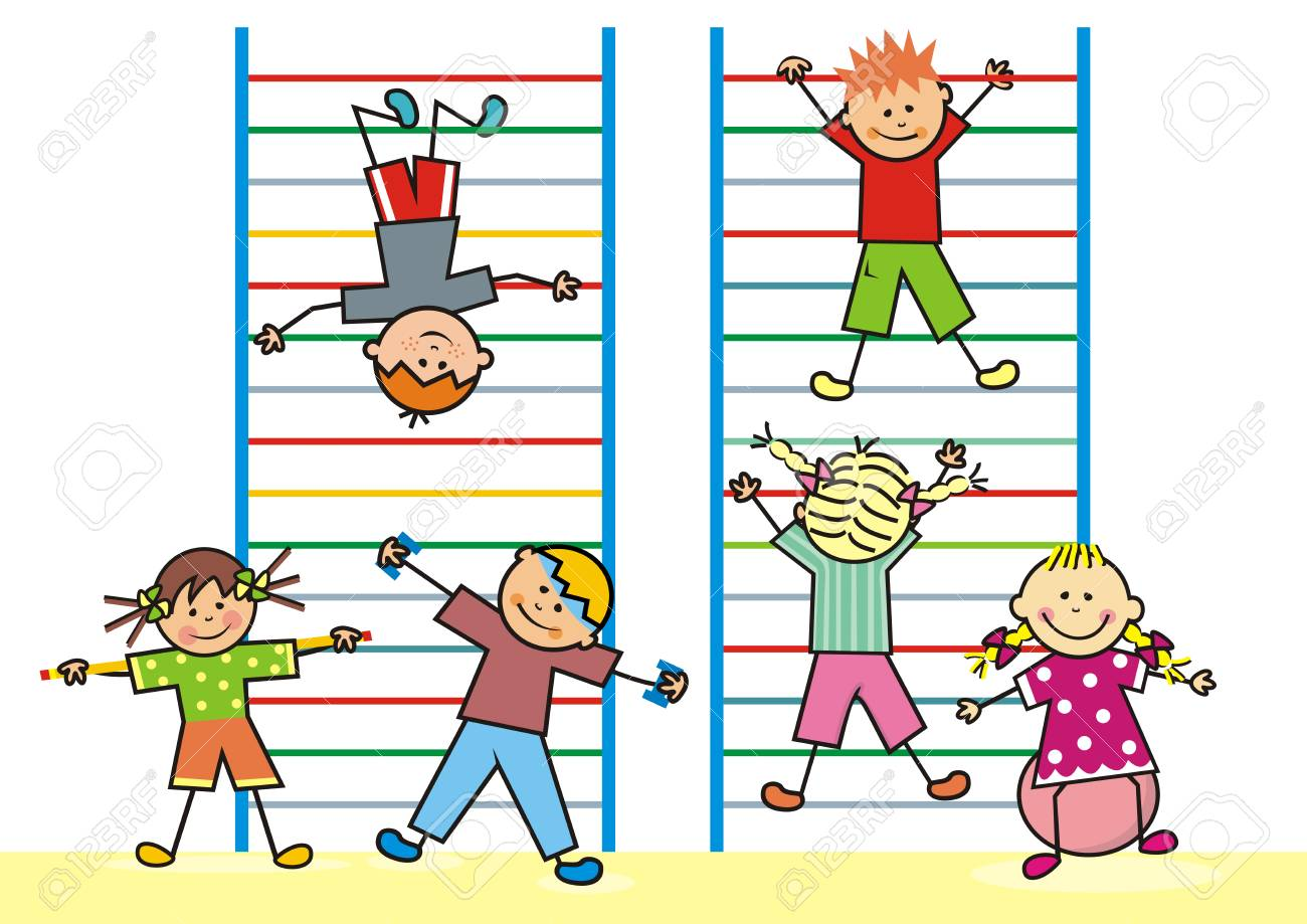 hight resolution of kids in the gym on the ladders vector icon fitness funny vector illustration