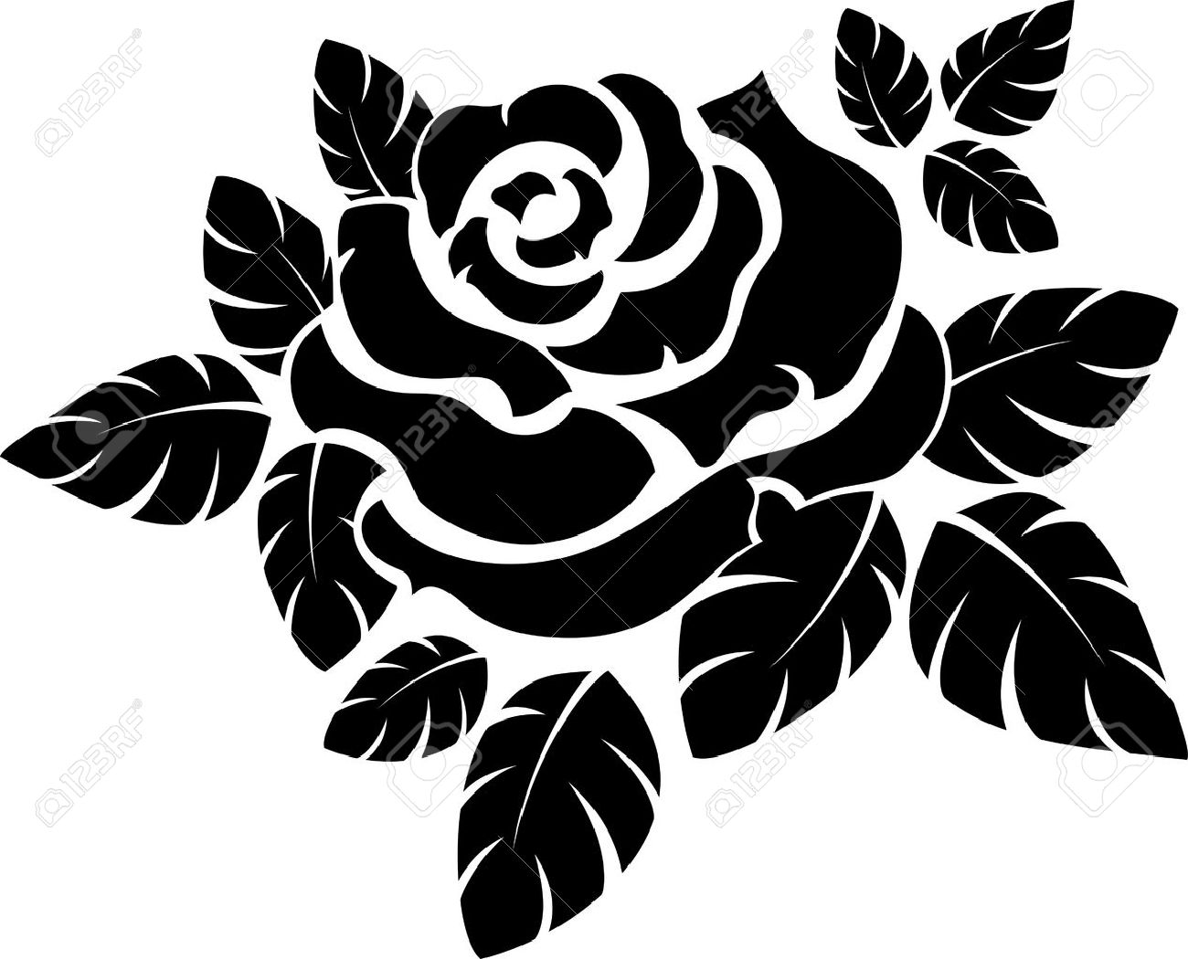vector rose silhouette isolated