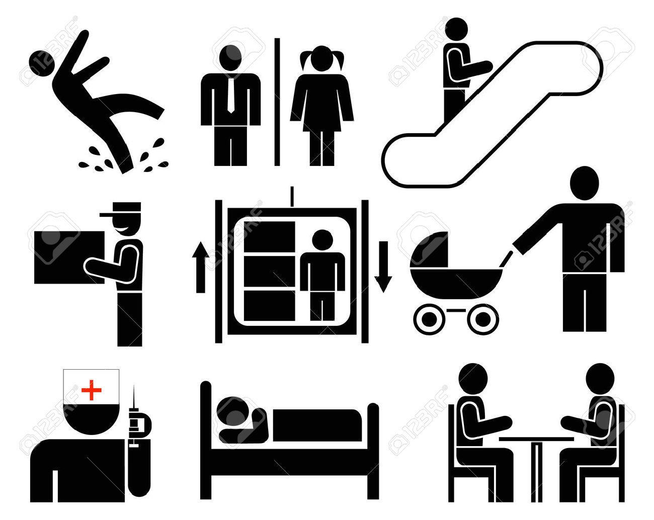 people jeu d icones vectorielles pictogrammes noirs sur fond blanc attention sol mouille toilettes ascenseur escalator livraison cafe